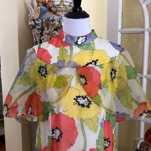 Vintage 1960's long floral crepe dress